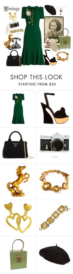 """""""Retro Look"""" by juliabachmann ❤ liked on Polyvore featuring Dolce&Gabbana, Charlotte Olympia, Prada, Yves Saint Laurent, Chanel, Christian Lacroix, Louis Vuitton and Harrods"""