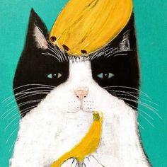 Cat and banana - Pepe Shimada