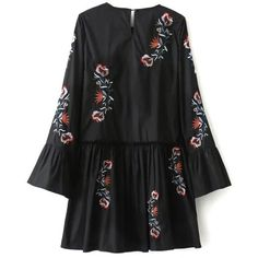 Long Bell Sleeve Embroidered Dress ($35) ❤ liked on Polyvore featuring dresses, long dresses, bell sleeve dress, flared sleeve dress, embroidery dresses and long bell sleeve dress