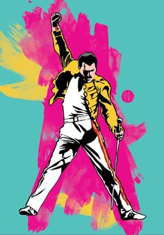 music, poster, print, digital illustration, wall decor, home decor, gift, freddie mercury, etsy, queen
