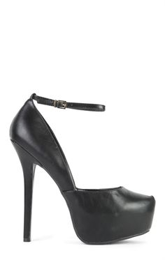 Deb Shops Faux Leather Platform Pumps with Ankle Strap $30.00