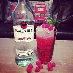 Raspberry mojito                                  2oz white rum                                                      1 cup raspberry's                                                   7 mint leaves                                                       4 pieces of lime.                                                  1/2 oz simple syrup.                                             1 oz soda water.