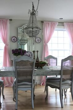 Pink linen curtains french dining room