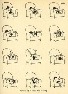 Portrait of a small boy reading by Gluyas Williams