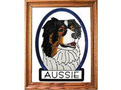 Australian Shepherd Dog Hand Painted Stained Glass Art