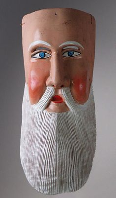 Hermitano mask  Michoacan    16 inches, painted wood    Classic in form, this large mask would have been worn by the Hermit character in the Pastorela Dance.