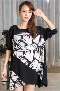 Loose Asymmetric Round-Neck Long Sleeve Short Day Dress, Short