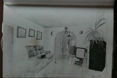 Cath's room, MT Stowers. Pencil.