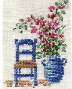 Flower and a chair cross stitch. Cross Stitch Cards, Simple Cross Stitch, Cross Stitch Borders, Cross Stitch Flowers, Cross Stitch Designs, Cross Stitching, Cross Stitch Embroidery, Hand Embroidery, Cross Stitch Patterns