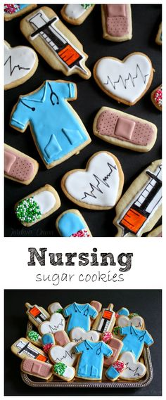 Nursing school themed sugar cookies| USING COOKIE CUTTERS YOU PROBABLY ALREADY HAVE ON HAND!  Jordan's Onion