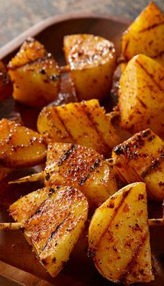 Crispy grilled potatoes make an easy side to your favorite main. Skewered and sprinkled with Grill Mates® Barbeque Seasoning, they've got a. Kabob Recipes, Grilling Recipes, Cooking Recipes, Cooking Food, Healthy Cooking, Vegetable Recipes, Diet Recipes, Healthy Food, Shish Kabobs