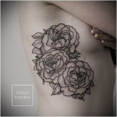 roses by evgeny kopanov #tattoos #side #rib