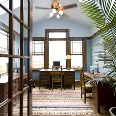 heres an entire houzz ideabook of rooms with natural wood trim blue home office dark wood