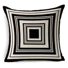 Lino y algodón funda de almohada cojín para sofá cama y sofá cremallera invisible blanco y negro PD119(China (Mainland))