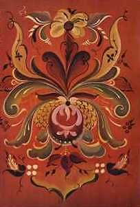 Rosemaling designs for painting walls and furniture.