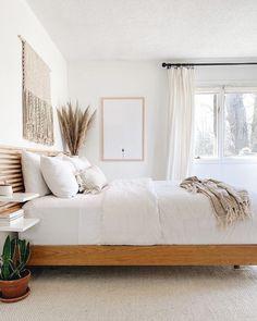 Oak Bedroom, Room Ideas Bedroom, Bedroom Bed, Home Decor Bedroom, Modern Bedroom, Oak Bed Frame, King Bed Frame, Wooden Queen Bed Frame, White Queen Bed Frame