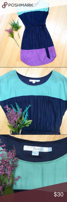 BODEN colorblock dress, 2. Boden color block dress, UK 6R, US 2R, but I think it would also comfortably fit a 4. Beautiful navy, aqua, and purple. Bust is 18 inches, length is 36 inches. Fully lined, optional tie in front, back, or omit. Super cute!! Boden Dresses Midi