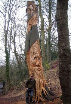 My tallest creation was a 25ft tall totem pole that I carved out of a condemned beech tree .... Andy O'Neill    http://www.wildwoodcarving.co.uk/    Bedgebury Forest, Kent  The Goddess. Mother Earth. Mother Nature.