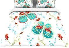 "Kess InHouse Anneline Sophia ""Leafy Butterflies Red"" Aqua Butterfly Queen Cotton Duvet, 88 by 88-Inch Kess InHouse http://www.amazon.com/dp/B00NBZ9B5Q/ref=cm_sw_r_pi_dp_tcBgub1Z93YE4"