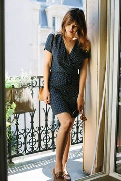 this wrap dress and loafers combo is a fave!