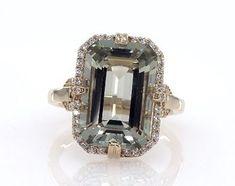 Prasiolite Engagement Ring with 6.70ct Prasiolite & Side Diamonds