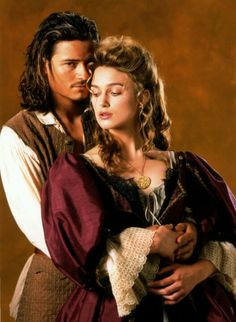 Elizabeth Swann and Will Turner - is actor Orlando Bloom,,Actress Keira Knightley as Elizabeth Swann (Pirates of the Caribbean At World's End 2007 Movie) Keira Knightley Pirates, Keira Christina Knightley, Will And Elizabeth, Elizabeth Turner, Captain Jack Sparrow, Bateau Pirate, Image Film, Pirate Life, Movie Couples
