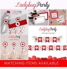 Ladybug cake topper Printable toppers Ladybug party decor
