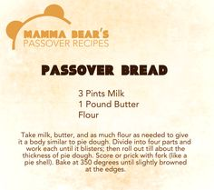 Passover / Feast of Unleavened Bread Recipe: Passover Bread