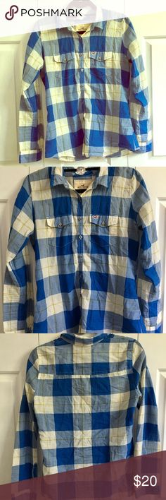 Hollister Summer Plaid Shirt - Size Medium! Hey what's up! Have you met Jake and Malaya?! This shirt brings me back to my glory days when I worked at Hollister and had to say the tag lines to everyone who walked in the store.  Feel like a Hollister model when you buy this blue and white checked summer plaid with a hint of lime green!  It's not like a regular plaid, it's a cool plaid... feels almost linen(y) even though its cotton.  Great condition and from a smoke free home! Size Medium…