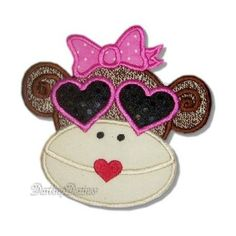 Machine Embroidery Design Applique Sock Monkey .......... Hollywood Sadie