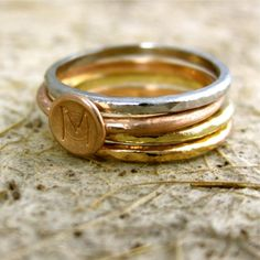 14K White Yellow Rose Gold Stack Rings with Initials of Your Choice via ADZIA on Etsy