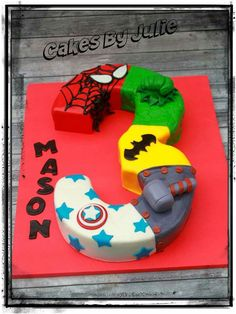 Avengers shaped number cake