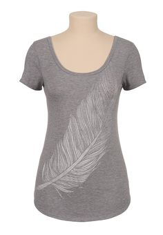 Embellished feather scoop neck graphic tee