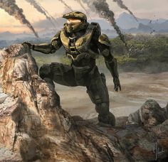 Halo 4 Art & Pictures,  Master Chief Scouts Infinity Going Down