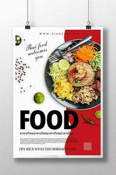 Thai food poster creative design creative social media campaigns that went viral Food Graphic Design, Food Poster Design, Food Menu Design, Creative Poster Design, Ads Creative, Graphic Design Posters, Product Design Poster, Product Catalog Design, Restaurant Poster