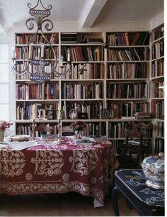 déco de bibliothèque de style bohème