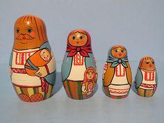 "VINTAGE TRADITIONAL (BREST REGION) NESTING DOLLS ""UKRANIAN MAN HOLDING BABY"""