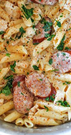 One Pot Cajun Chicken and Sausage Alfredo Pasta This delicious Cajun Chicken Alfredo is one of our new favorite meals. It is so simple to make and absolutely packed with flavor. - One Pot Cajun Chicken and Sausage Alfredo Pasta Recipe Sausage Pasta Recipes, Cajun Recipes, Cooking Recipes, Cajun Pasta With Sausage, Cajun Chicken And Sausage Pasta Recipe, Turkey Sausage Pasta, Kilbasa Sausage Recipes, Smoked Sausage Recipes, Haitian Recipes