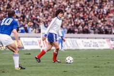 Italy 2 France 1 in 1978 in Mar Del Plata. Didier Six walks the ball forward for France in Group A at the World Cup Finals. World Cup Final, France 1, Finals, Running, Sports, Walks, Group, Mar Del Plata, Italy