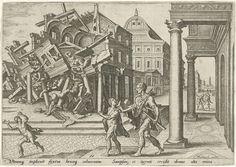Philips Galle   Simson verwoest de tempel van de Filistijnen, Philips Galle, 1569   Simson is uit de gevangenis bevrijd en verwoest de tempel van de Filistijnen door met twee zuilen onder zijn armen weg te lopen. Het gebouw valt over hem heen. Rechtsvoor een man met harp (lier) onder zijn arm en een jongen op de trappen van een gebouw met zuilenportiek.