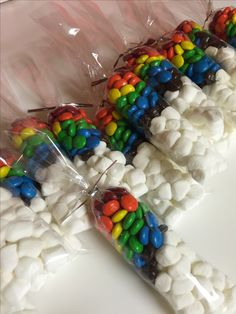MLP Rainbow Dash party favors. M&Ms, marshmallows & pretzel bags.