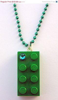 ON SALE Dark Green LEGO R brick 2x4 with a by MademoiselleAlma, $9.09