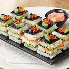 Salmon and Lobster Sushi Stack – Lachs-Hummer-Sushi-Stapel – Sushi Sandwich, Sushi Burger, Sushi Sushi, Sushi Recipes, Cooking Recipes, Sushi Comida, Shrimp Sushi, Salmon Sushi, Homemade Sushi