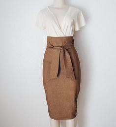High Waist Pencil Skirt in Chocolate Brown & White  Pinstripe Denim Womens Clothing Custom Made. $89.00, via Etsy.