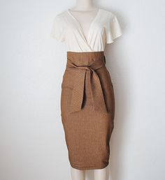 High Waist Pencil Skirt in Chocolate Brown & White  Pinstripe Denim Womens Clothing Custom Made - Small Only. $89.00, via Etsy.