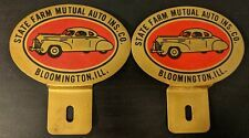 Two Vintag State Farm Insurance License Plate Topper Bloomington