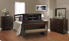 Queen Foot-board Desk TV Lift w/ bench. Multi functional hides TV and has a storage drawer. TVLiftcabinet.com