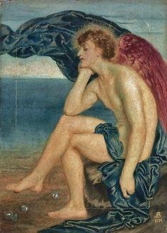 Simeon Solomon, English Pre-Raphaelite Painter, 1840-1905 Love Dreaming by the Sea, 1871