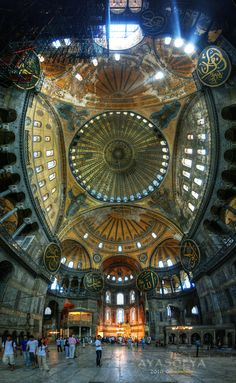 Turkey: Hagia Sophia formerly St. Sophia Cathedral, the crown of the Byzantine Empire in Constantinople. Upon seeing St. Sophia, Russian emissaries returned to the Czar saying the cathedral was so beautiful it was as if heaven were on earth (paraphrased).