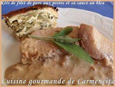 Rôti de filet de porc aux poires et sa sauce au Bleu  http://www.carmen-cuisine.com/article-roti-de-filet-de-porc-aux-poires-et-sa-sauce-au-bleu-72578803.html